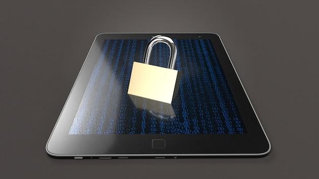 Tabella e chiave master rendering 3d per la tecnologia di sicurezza.