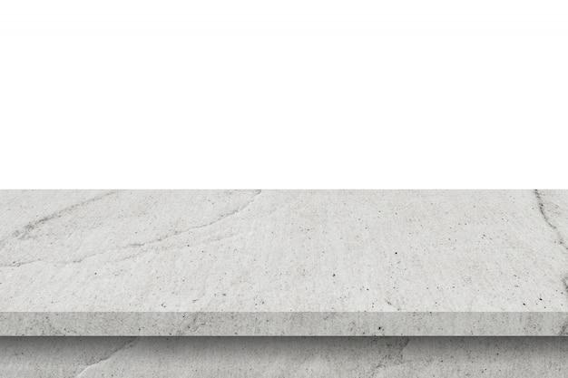 Tabella vuota del cemento su fondo bianco isolato con lo spazio della copia e montaggio dell'esposizione per il prodotto.
