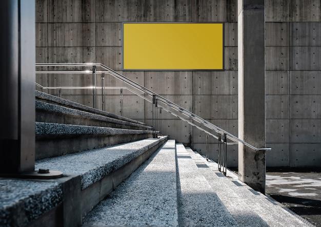 Tabellone per le affissioni in bianco sul muro di cemento. scena all'aperto, edificio industriale moderno del sottotetto.