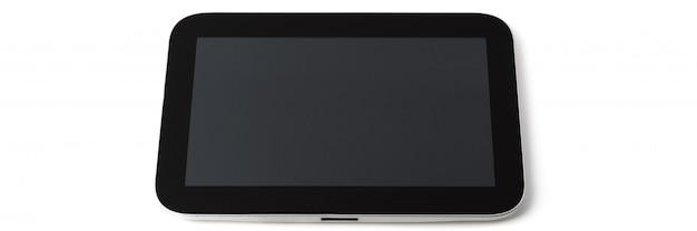 Tablet pc, cornice nera, schermo grigio, isolato.