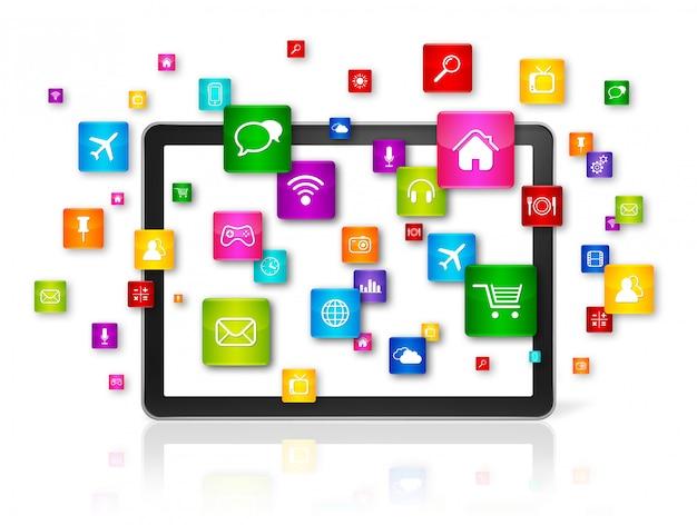 Tablet pc e icone di applicazioni volanti