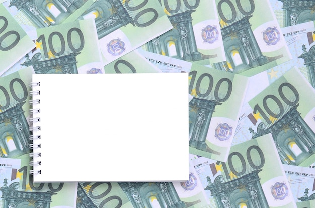 Taccuino bianco con pagine pulite che giace su un insieme di denominazioni monetarie verdi di 100 euro