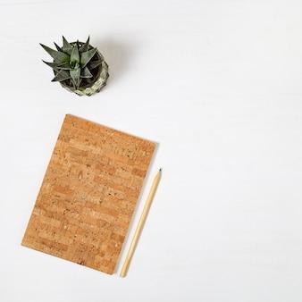 Taccuino chiuso con copertina in legno sughero e matita per disegno o schizzi, vaso con succulento sulla scrivania bianca. spazio di lavoro per persona creativa. vista dall'alto. disteso.