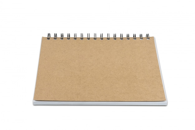 Taccuino della pagina in bianco isolato su fondo bianco