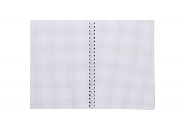 Taccuino quadrato bianco a spirale in bianco, carta isolata su fondo bianco.