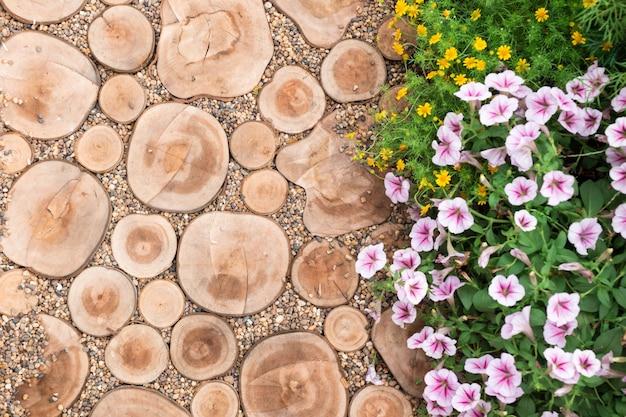 Tagliare tronchi, percorso, giardino decorativo