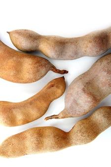 Tamarind tamarindus indica legumes isolated