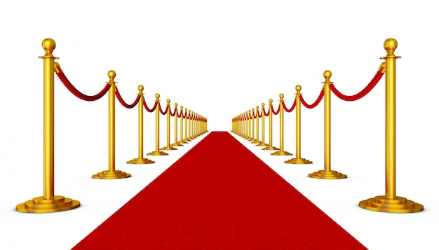 Tappeto rosso e colonne con corde rosse su sfondo bianco