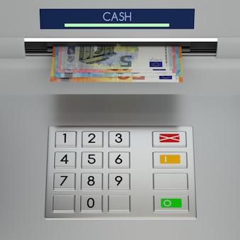 Tastiera bancomat con banconote in euro