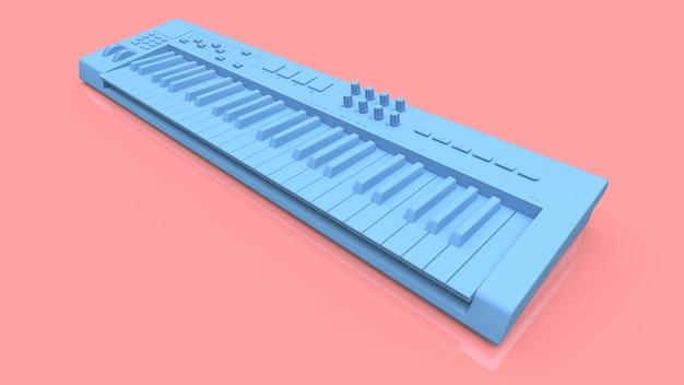 Tastiera midi sintetizzatore blu su sfondo rosa. primo piano dei tasti del sintetizzatore