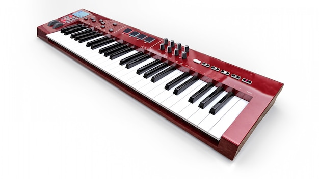 Tastiera midi sintetizzatore rosso su sfondo bianco. primo piano dei tasti del sintetizzatore. rendering 3d.