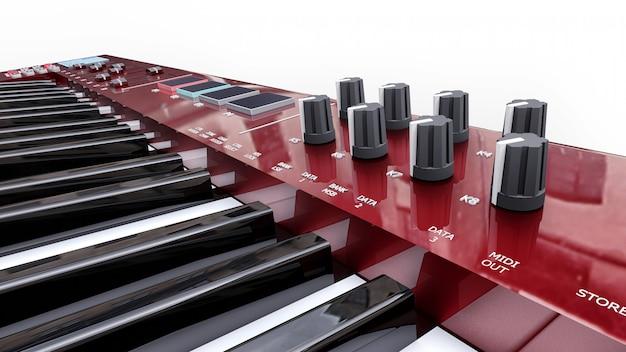 Tastiera midi sintetizzatore rosso su superficie bianca. primo piano dei tasti del sintetizzatore