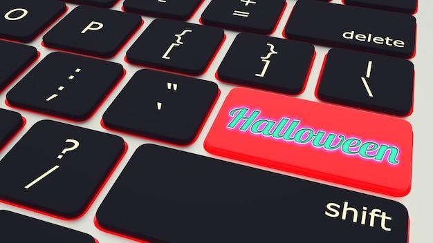 Tasto con tastiera del computer portatile di halloween del testo. rendering 3d
