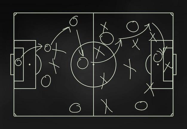 Tattiche di calcio su un primo piano lavagna