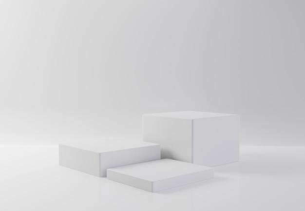 Tavola bianca della vetrina del prodotto del cubo di rettangolo sul fondo dell'isolato. concetto astratto geometria minima. piattaforma podio studio. fase espositiva e di presentazione aziendale. l'illustrazione 3d rende il grafico