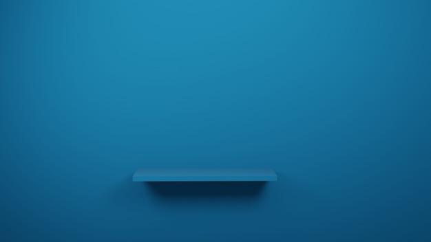 Tavola blu in studio o showroom per il prodotto attuale, rappresentazione 3d