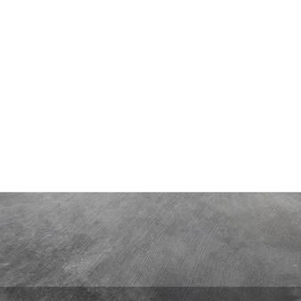 Tavola concreta vuota su bianco e su fondo isolati.