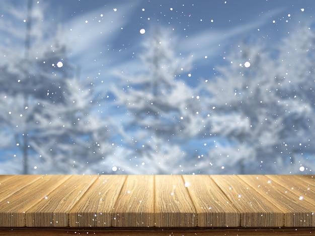 Tavola di legno 3d che guarda fuori ad un paesaggio nevoso