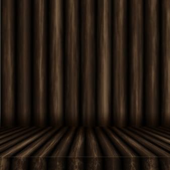 Tavola di legno 3d che guarda fuori ad una parete di legno