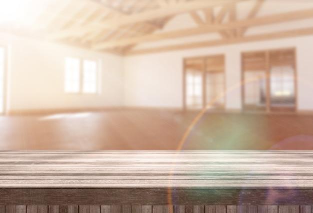 Tavola di legno 3d che guarda fuori ad una stanza vuota moderna con il sole che splende attraverso la finestra