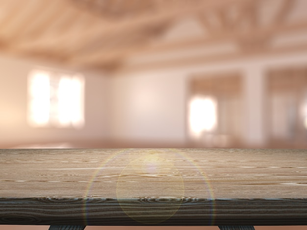 Tavola di legno 3d che guarda fuori ad una stanza vuota