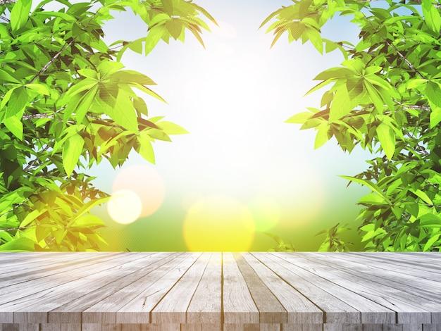 Tavola di legno 3d che guarda fuori alle foglie e al paesaggio defocussed