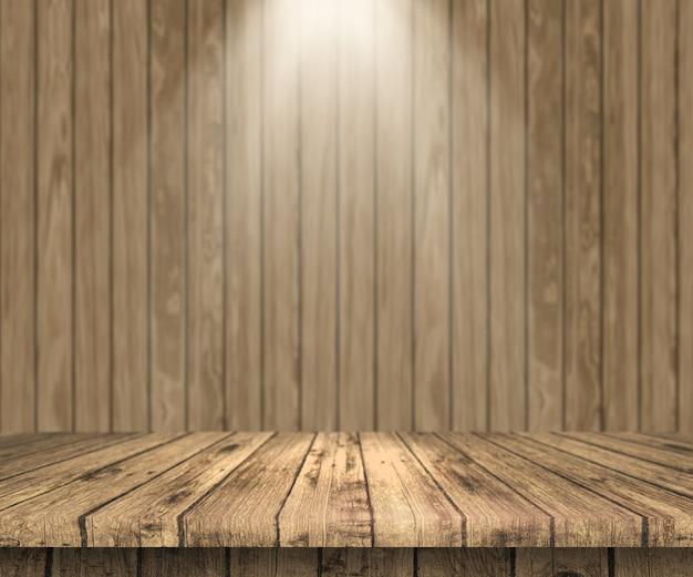 Tavola di legno 3d che guarda fuori
