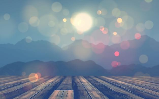 Tavola di legno 3d che osserva fuori ad un paesaggio della montagna