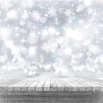 Tavola di legno bianca 3d che guarda fuori ad un fondo di natale