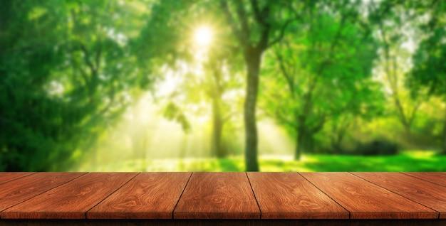 Tavola di legno di brown nel fondo verde della natura della sfuocatura.