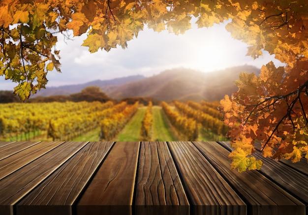 Tavola di legno nel paesaggio del paese della vigna di autunno.