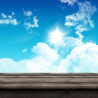 Tavola di legno rustica 3d che guarda fuori ad un cielo soleggiato blu