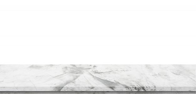 Tavola di marmo vuota su fondo bianco isolato