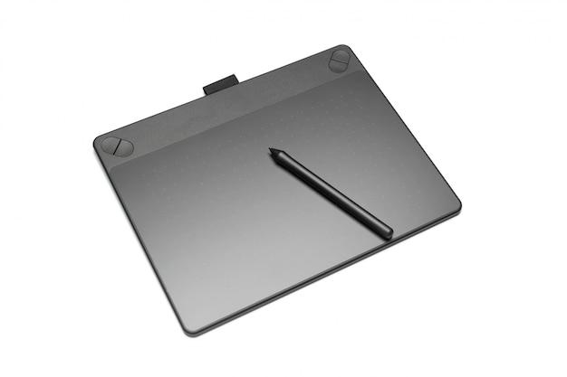 Tavoletta grafica con penna per illustratori e designer, isolata on white