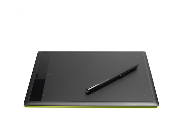 Tavoletta grafica con penna per illustratori e designer, isolata
