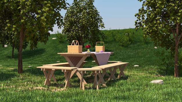 Tavolo da picnic sulla natura