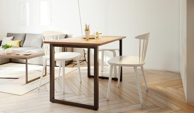 Tavolo e sedia bianca soggiorno