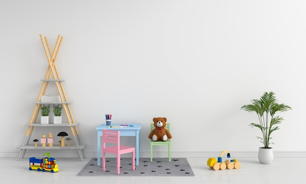 Tavolo e sedia in camera bianca per bambini