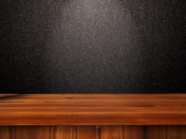 Tavolo in legno 3d contro un muro luccicante nero