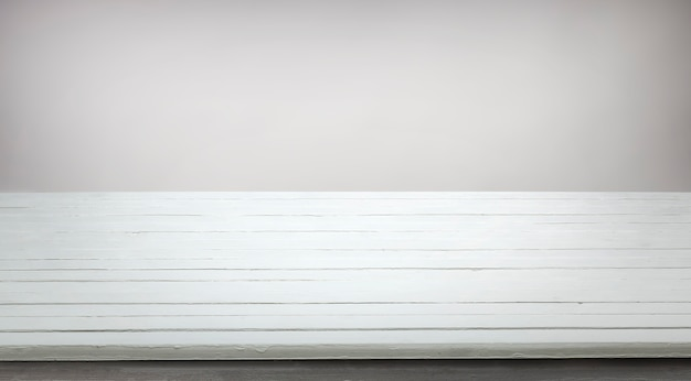 Tavolo in legno bianco per la presentazione del prodotto