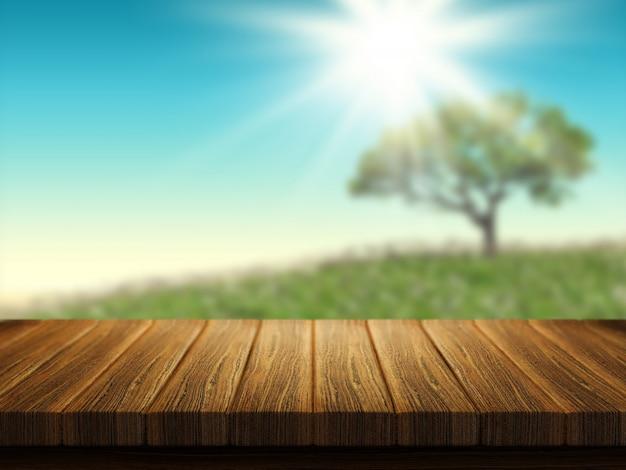Tavolo in legno con albero paesaggio sullo sfondo