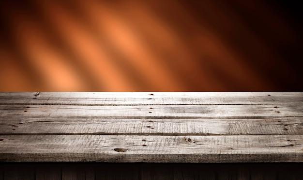 Tavolo in legno scuro sullo sfondo