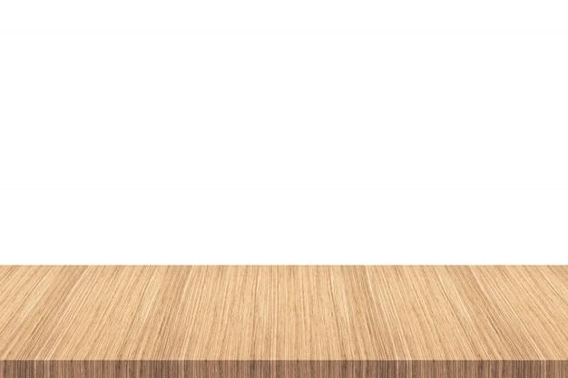 Tavolo in legno vuoto isolato su sfondo bianco - può essere utilizzato per visualizzare o montare i tuoi prodotti.