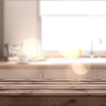Tavolo rustico 3d che si affaccia su una moderna sala defocussata