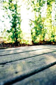 Tavolo rustico nel parco con alberi sfocati