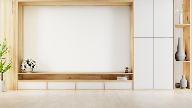 Tavolo tv con parete schermo di cemento nel moderno salotto. rendering 3d