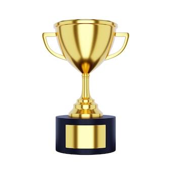 Tazza del trofeo dell'oro isolata su fondo bianco