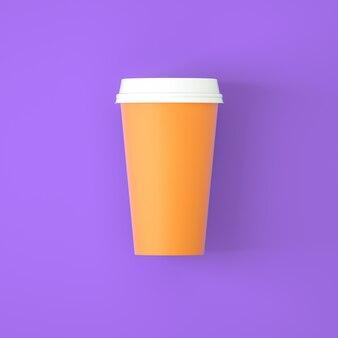 Tazza di caffè arancione su sfondo viola