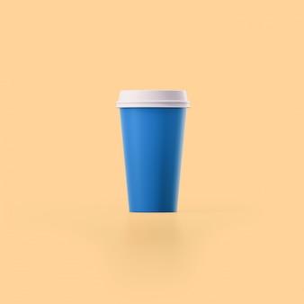 Tazza di caffè blu su sfondo arancione