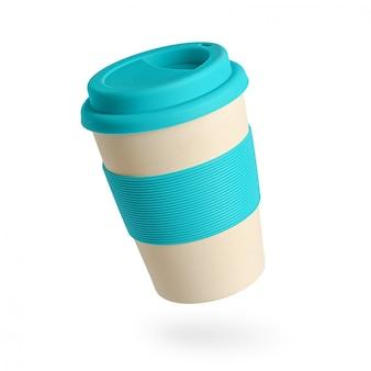 Tazza di caffè di bambù riutilizzabile con supporto in silicone blu e coperchio su bianco